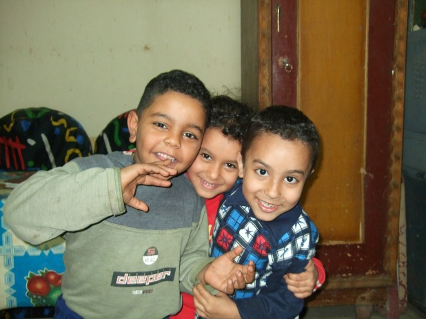The cute little children at his home