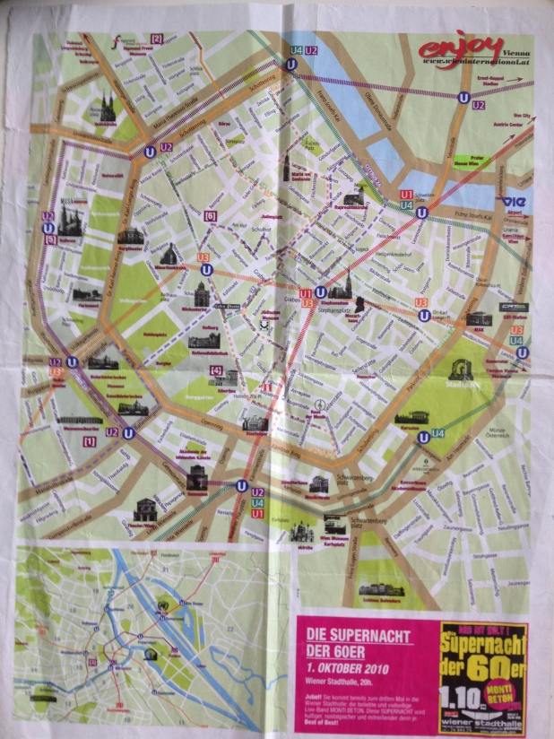 The Map of Vienna: The photo is  a bit blurred, but hope that you can make out the general contour of the city