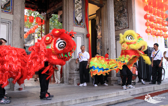The dancing dragons during the Chinese New Year