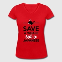 essen-trinken-save-a-whale-eat-a-japanese-t-shirts-frauen-t-shirt-mit-v-ausschnitt